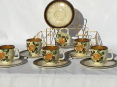 Boch La Louvière __ model CORFU __ 6 cups with saucers in beautiful brass vintage holder