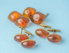Vintage Baltic Amber set of cuff links gold plated old egg yolk colour, total weight: 33 gram (1.2 oz)