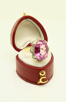 "Quality ring 6.2ct ""natural Pink flamingo Topaz"" and diamonds with certificate of authenticity °°°NO reserve°°°"