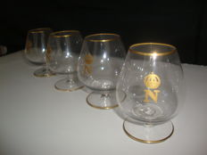 4 Baccarat Napoleon With Leaves Gold Gilded Crystal Brandy Cognac Glasses