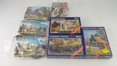 Pola H0 - incl. 614/470/507 - Seven Dutch building kits of Mills, raised bridge, and houses