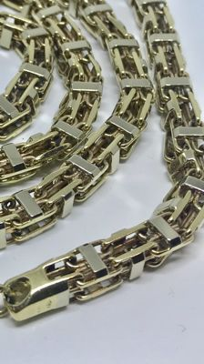 14 kt solid bicolour gold necklace 176.8 grams - length: 90 cm