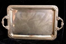 An elegant ,  silver plated (marqued: ALPACA)  , Louis XV style  , vintage  tray  , with two  handles  , 1980´s