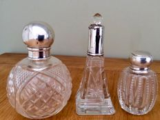 Set Of 3 Silver And Cut Glass Scent & Vanity Bottles, England, London, 1857-1932