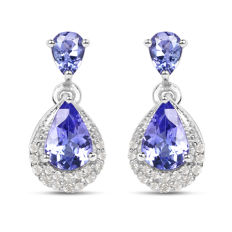 Gold earrings with tanzanites and diamonds Tanzanites 1.140 ct and diamonds 0.16 ct *****no reserve*****