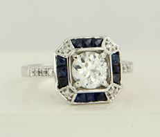 14 kt white gold ring in Art Deco style set with sapphires and diamonds of in total approx. 1.8 ct ring size 17.25 (54)