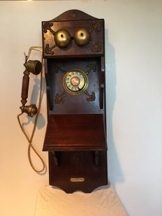 Wooden wall telephone with copper receiver, 2nd half of the 20th century