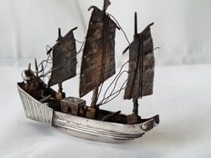 Antique Chinese Silver Model Of A Junk Boat , Hong Kong , late 19th century