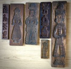 Six vintage hand carved speculoos boards