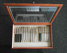 Vitopardo Argenti: Sterling Silver 925/1000 17 fountain pens and 2 rollerball pens Pen Collection in luxury presentation box with display case