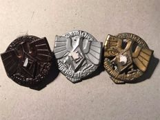 Lot of 3 Badges from WWII, 3 German Youth Festival Badges: bronze 1936, 1937 silver, and gold 1936