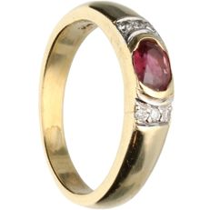 18 kt - Yellow gold ring with ruby and brilliants - Ring size: 16.5 mm