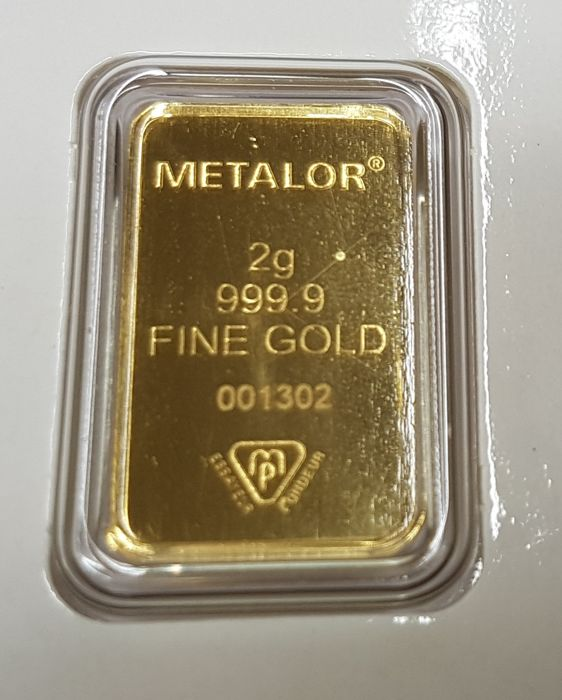 Gold ingot, 2 gr, Metalor Switzerland with certificate NO RESERVE PRICE