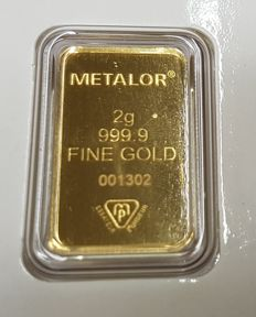 Gold ingot, 2 gr, Metalor Switzerland incl. certificate