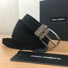 Dolce & Gabbana – Black Linen and Leather Belt