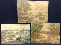 3 antique school images on linen of prehistoric animals