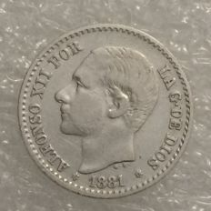 Spain – 50 Centimos – Alfonso XII – 1881 MS-M – Silver