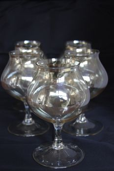 C. de Lorm - 5 gold lustre cognac glasses of the glassware Normaal I