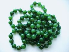 Vintage necklace of genuine Jade-Nephrite beads in dark spinach or forest green colour, 1950's38 grams