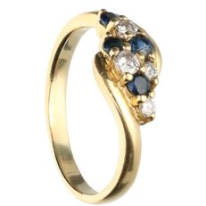 14 kt - Yellow gold ring set with sapphire and 4 brilliant cut diamonds, approx. 0.13 ct in total - Ring size: 17 mm