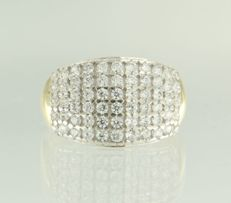 14 kt bicolour gold ring set with 46 brilliant cut zirconia - ring size: 19.5 (61)