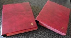 Two Importa four-ring albums with 102 banknote sheets, with three compartments, and 102 red flyleaves, in total.
