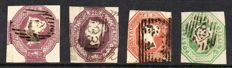 Great Britain, Queen Victoria 1848 - 6d Dull Lilac 6d Mauve 10d Brown and 1/- Green, Embossed Issue Set