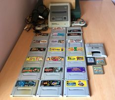 Super Nintendo (Super Famicom) Japan Import and 20 games. Super Game Boy and 3 game boy games.