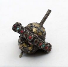 Judaica - Spinning Top - Dreidel - Hannukah - Sterling Silver - Filigree - Coral & Turquoise Gemstones - Hebrew - Turkemenistan - ca. 1920's