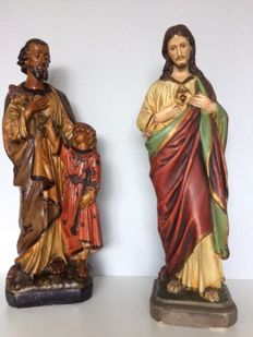 Jesus statue: sacred heart and St. Joseph with baby Jesus 1920s/1930s Southern Netherlands