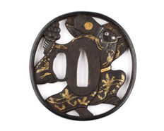 Iron sukashi tsuba, Okina Sanbaso motive, Gold, silver and shakudo inlay, Shakudo fukurin - Japan - 18th/19th century