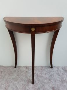 Mahogany (flower) wood half moon table - Newhaven, England, late 20th century