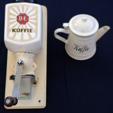Two vintages items: Douwe Egberts wall coffee grinder & coffee pot of enamel