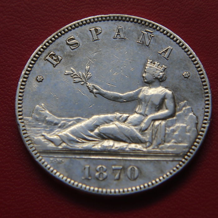 Spain - 1st Spanish Republic - 5 silver pesetas - year 1870 *18*70* –