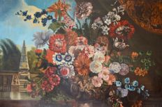 Continental school. (18th/19th century) - A still life of an urn of flowers in a landscape.