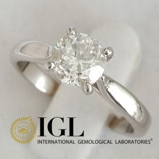 IGL 1.03 ct F/SI1 Round Diamond Solitaire Ring