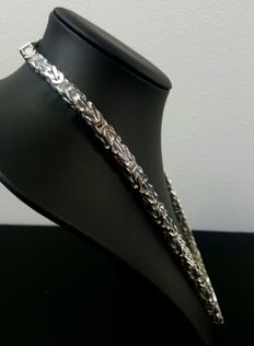 Silver king's braid necklace, length: 66 cm, width: 7 mm, weight: 197 g, 925 kt