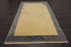 Beautiful, old, hand-knotted China carpet, China Art Deco Beijing, old rug, 125 x 125 cm