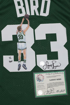 Larry Bird Original signed Boston Celtics Adidas Swingman Jersey + Hand painted scetch. Official Schwarz Sports Authentication Hologram and COA