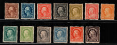 USA 1917 - Franklin and Washington perforation 11 Unificato 2017/18 catalogue nos. 339/346 - 348/351 - 353