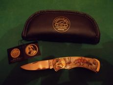 Franklin Mint - 24 Carat Gold-Plated Fox Hunting Knife with Case - A Franklin Mint Collectors Knives Pocket Knife