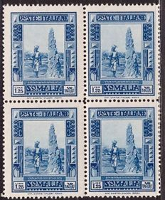 Somalia 1935 - 1.25 lire 'Pittorica', perforation 14 in block of four - Sassone N. 223