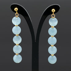 18kt/750 yellow gold earrings with aquamarines - Total earrings length: 45.5 mm