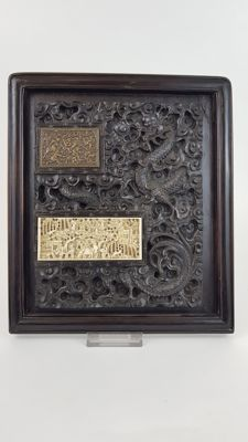 19th century Chinese hardwood Panel inset with bronze and Ivory