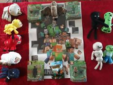 Lot Minecraft 10x cuddle - 4x toy packs - 1x wallsticker - 1x keychain