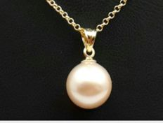 14 Ct Yellow Gold Chain & Culture Pearl Pendant , Chain 50 cm, Pearl 10mm