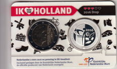"""The Netherlands - 2 Euro 2016 """"Ik hou van Holland - Drop"""" (I love Holland - Liquorice) + silver medal in Coin card"""
