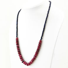 Ruby & Sapphire necklace with 18 kt (750/1000) gold clasp, length 50cm.