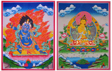 2 Pcs Large Size Blue Mahakala and Manjushri Thangka Painting - Nepal - 21st Century