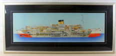 Colour print - cross section of a Steam Ship